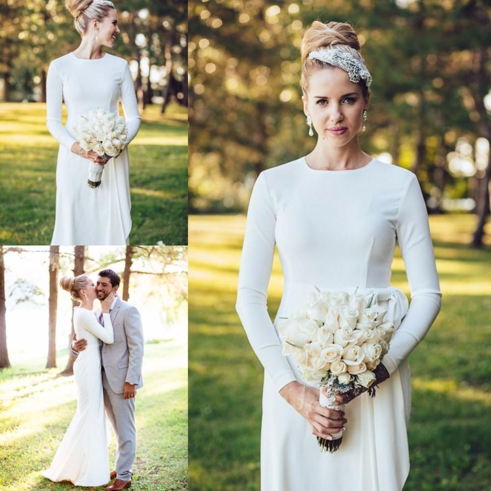 Simple Cheap Elegant Long Sleeves Wedding Dresses Lace: Elegant Simple Wedding Dress High Neck Long Sleeve Mermaid