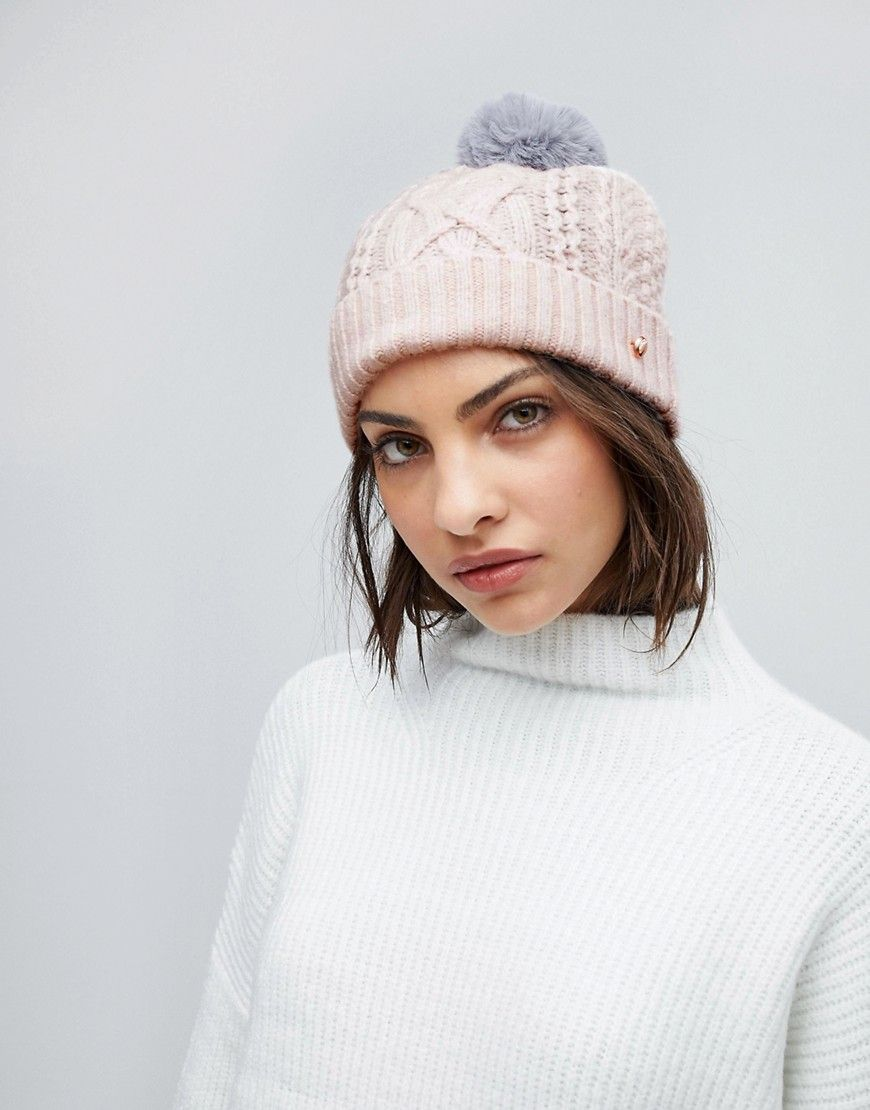 fcca855b669 Ted Baker Cable Knit Bobble Hat - Pink