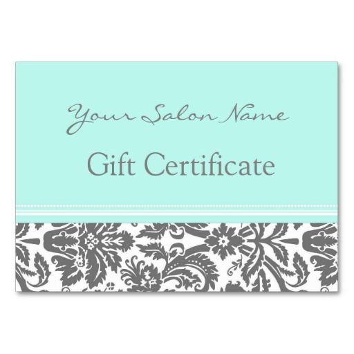 Salon gift certificate aqua grey damask gift certificates salon gift certificate aqua grey damask spa business cardselegant reheart Gallery