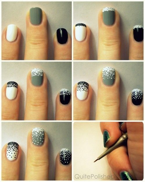 Dot-work color block nails