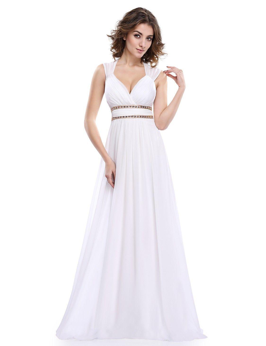 size 40 b521e 36ca6 V-Ausschnitt Elegantes Empire Abendkleid Lang in Weiß ...