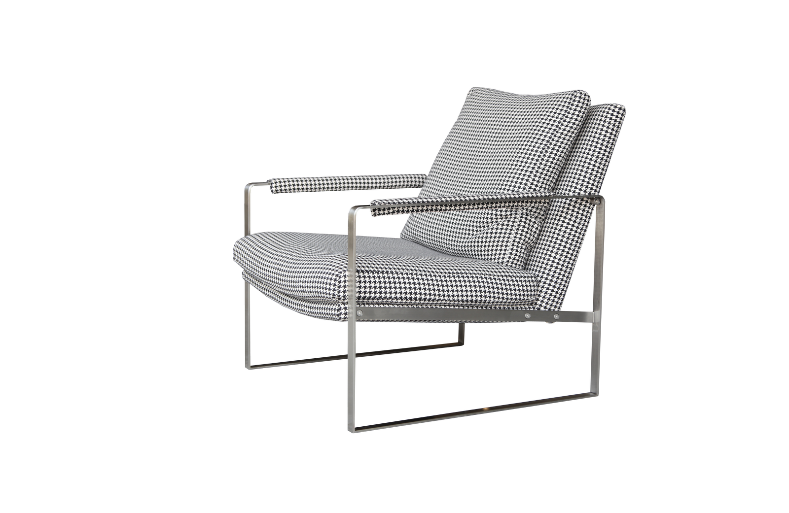 Zara Armchair   The Zara Armchair Has A Modernist Character With Its  Distinctive Stainless Steel Arms That Also Act As The Support Structure.