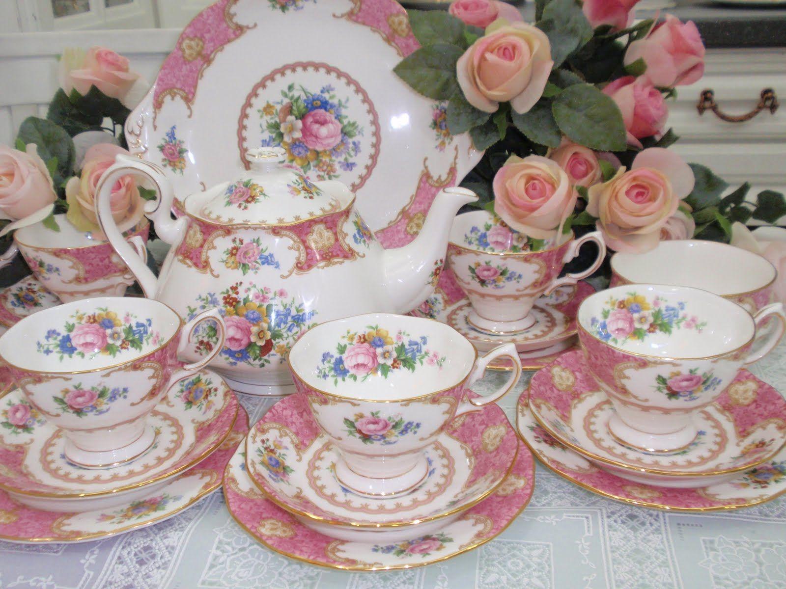 Royal Albert Lady Carlyle 41pc TEA SET Sugar Plates High