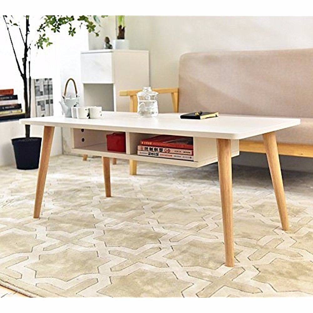 Tea table simply modern for living room white with storage cabinet