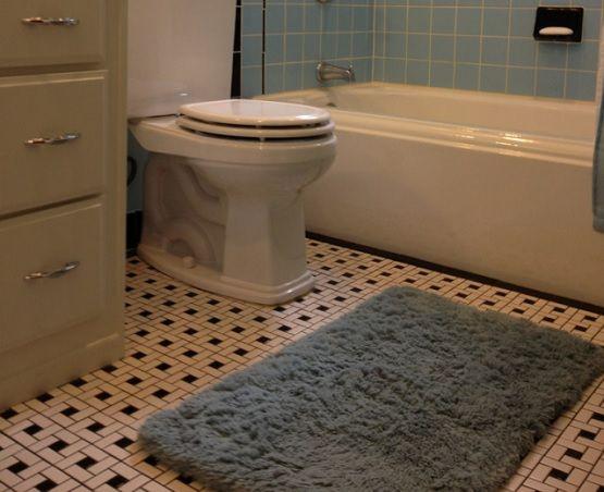 Beautiful Pinwheel Pattern Vintage Bathroom Floor Tile Part 11