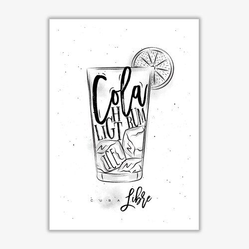 'Cuba Libre Cocktail' Graphic Art East Urban Home Format: No Frame, Size: 42 cm H x 30 cm W x 1 cm D #cubalibre
