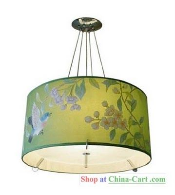 These hand painted silk lampshades lanterns and chandeliers look like gracie or de gournay hand painted silk wallpaper dont they