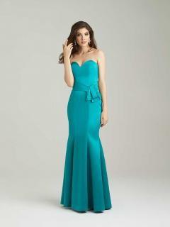 Strapless Jade Satin Long Chic Sweetheart Mermaid Bridesmaid Gowns