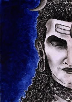 Lord Shiva Painting With Blue Background Wallpaper God Wallpaper