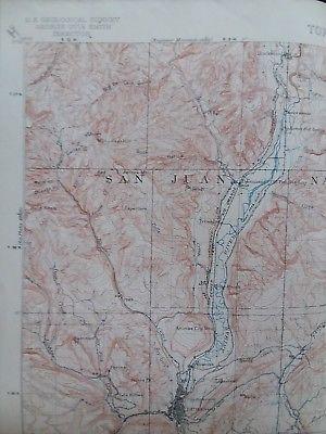 1908 Original Antique Geographical Survey MAP Colorado Ignacio ...