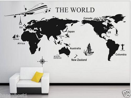 World map decal ebay bathroombedroom pinterest bedrooms world map decal ebay gumiabroncs Choice Image