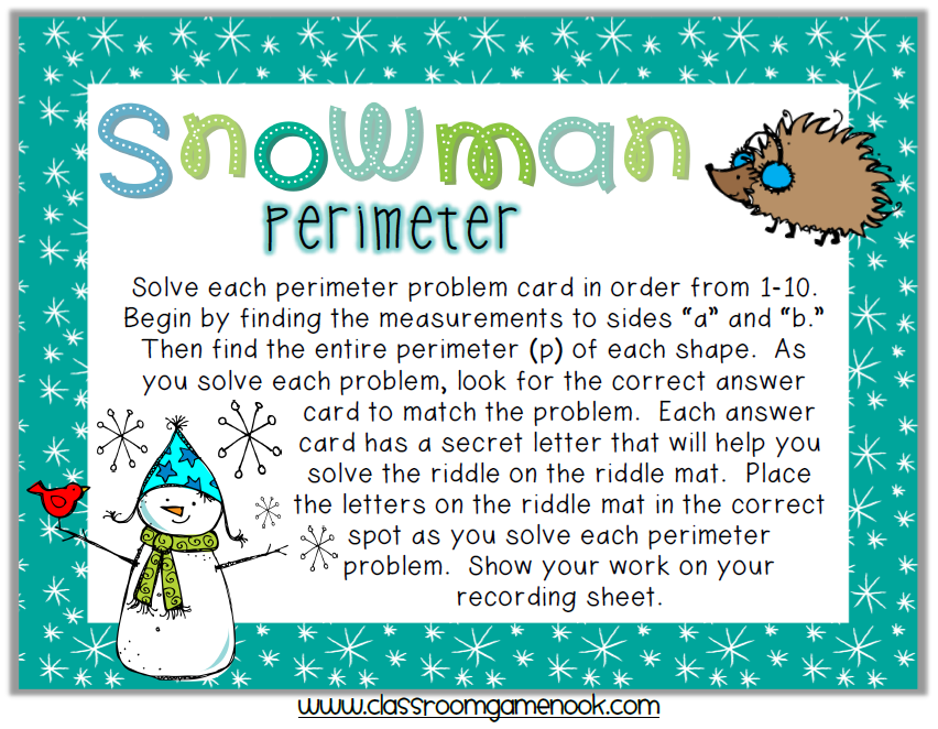 Snowman Perimeter Riddle Game Math Third Grade Maths