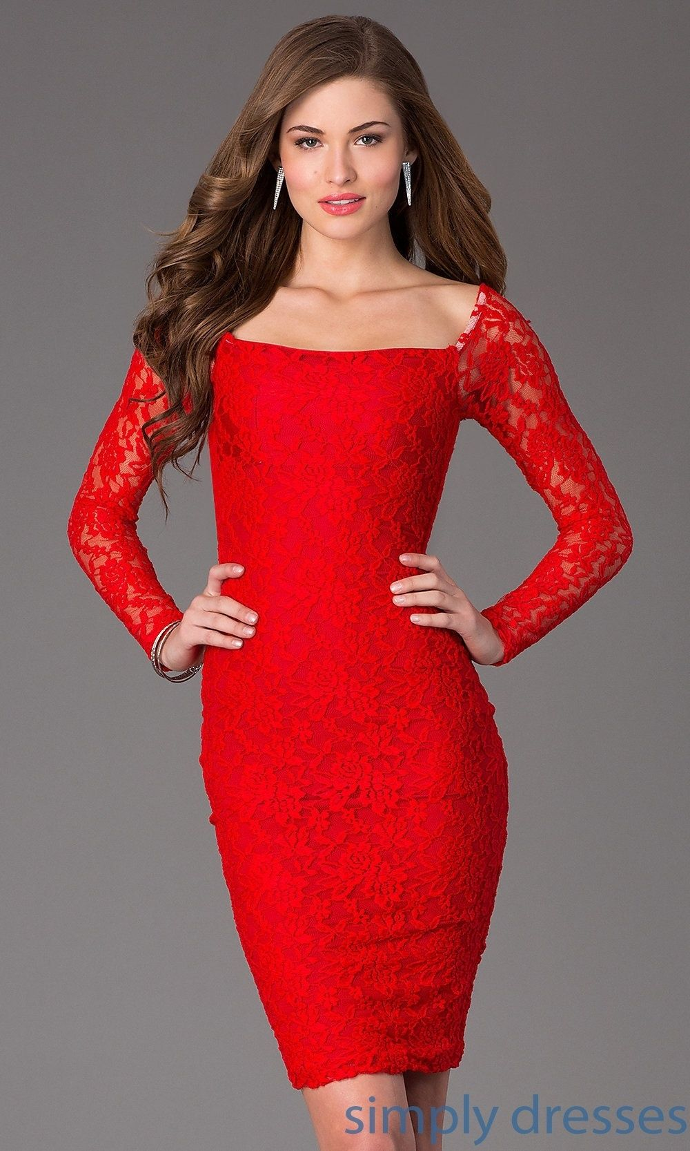 Amazing red kneelength longsleeve lace dress cocktail party dress
