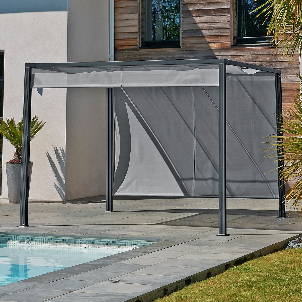 pergola design en aluminium avec brise soleil jardin. Black Bedroom Furniture Sets. Home Design Ideas