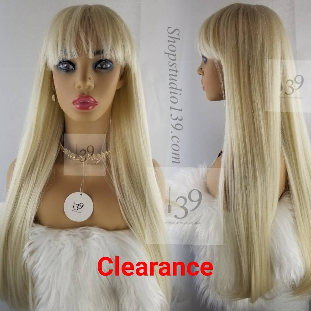 Platinum Blonde Long Human Hair Wig With Bangs Perfect For All Skin Tones Long Human Hair Wigs Wigs With Bangs Wig Hairstyles