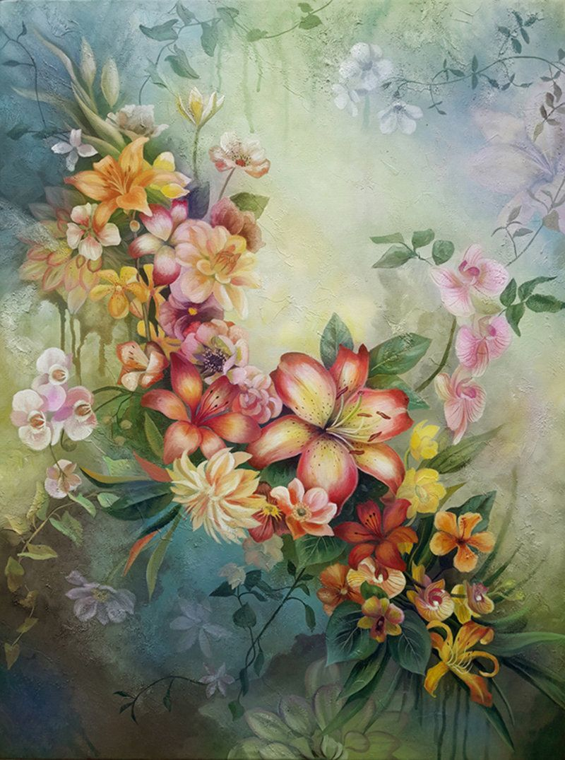 Lilies Original Painting Floral Wall Art Flowers Canvas Painting