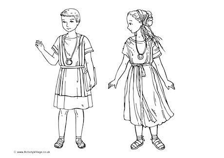 Roman Children Colouring Page free to download from