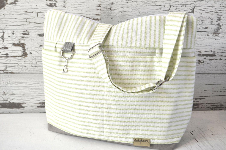 956478ec92d40 Diaper bag for Mom and Baby in Light Green Ticking Stripe ...