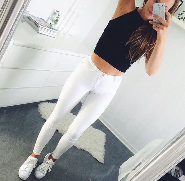 Black crop top , white jeans , white Adidas | #ootd ...