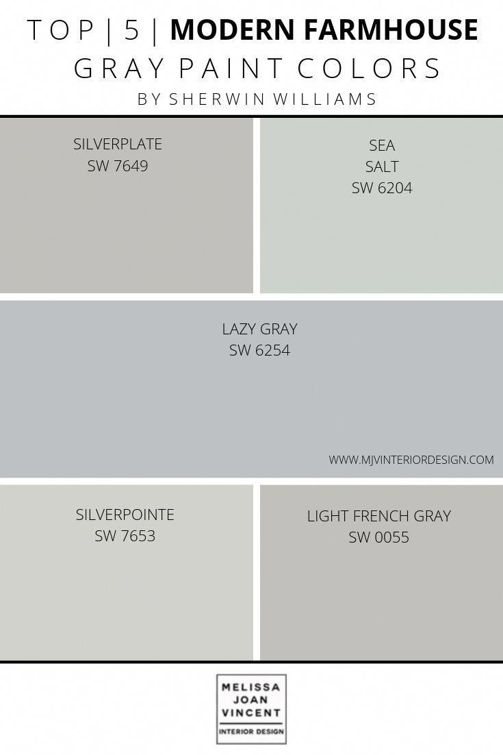 LET ME HELP YOU SELECT THE PERFECT PAINT FOR YOUR HOME- ALL ONLINE! TOP 5 MODERN FARMHOUSE GRAY PAINT COLORS BY SHERWIN WILLIAMS AND PROFESSIONALLY SELECTED BY INTERIOR DESIGNER. #SHERWINWILLIAMS #SILVERPLATE #SEASALT #LAZYGRAY #SILVERPOINTE #LIGHTFRENCHGRAY #HIREADESIGNER #EDESIGN#PAINTSELECTION #MELISSAJOANVINCENTINTERIORDESIGN #MODERNFARMHOUSE #kitchencolors