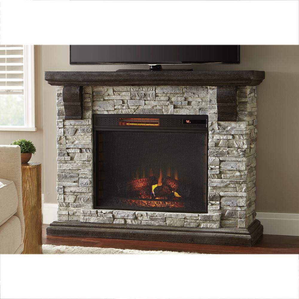 Highland 50 in faux stone mantel electric fireplace in for Faux marble fireplace mantels