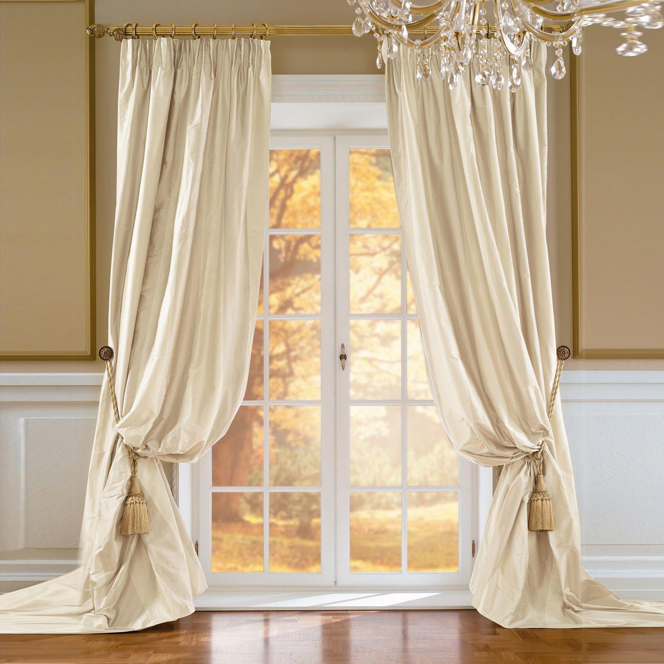 vorhang palmera 1 vorhang kostbare reine doupion seide extra breit gewebt keine st rende. Black Bedroom Furniture Sets. Home Design Ideas