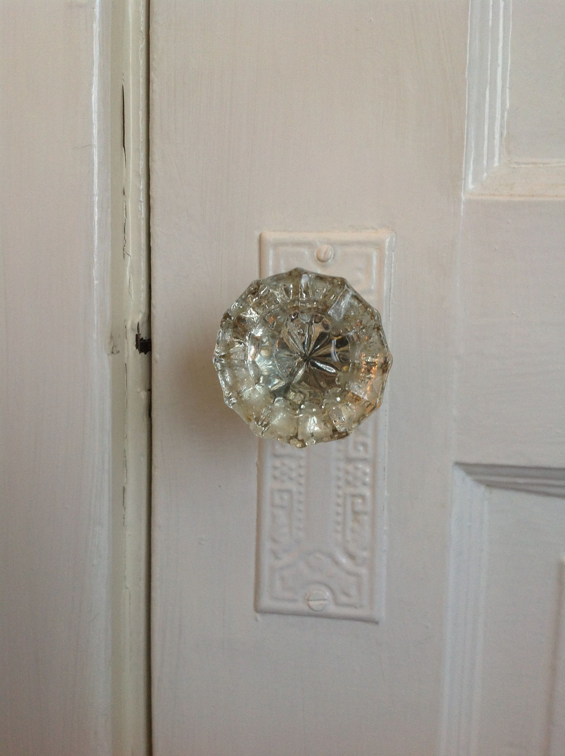 crystal glass door knob. Old farm house details. We had these in the house I grew up in.