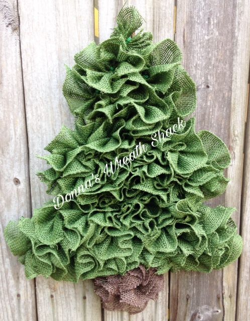Christmas Burlap Tree Wreath Made On A Wood Wire Frame This Tree Measures 19 A Burlap Christmas Wreath Burlap Christmas Tree Decor Burlap Christmas Ornaments