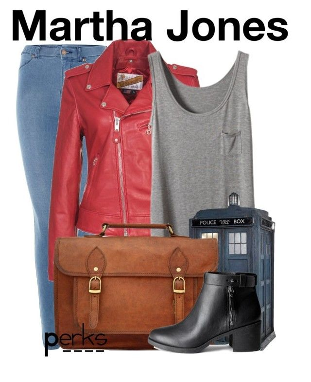 """""""Martha Jones"""" by perksofbeingafangirl708 ❤ liked on Polyvore featuring Dr. Denim, Schott NYC, Retrò, H&M, women's clothing, women's fashion, women, female, woman and misses"""
