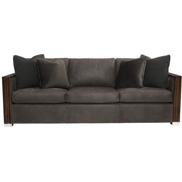 Marlon Modern Rustic Lacquered Wood Boxed Grey Leather Sofa ($4,089) ❤  Liked On Polyvore