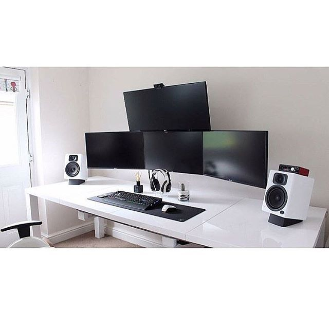 white computer desk. high-contrast black and white computer/desk/office computer desk