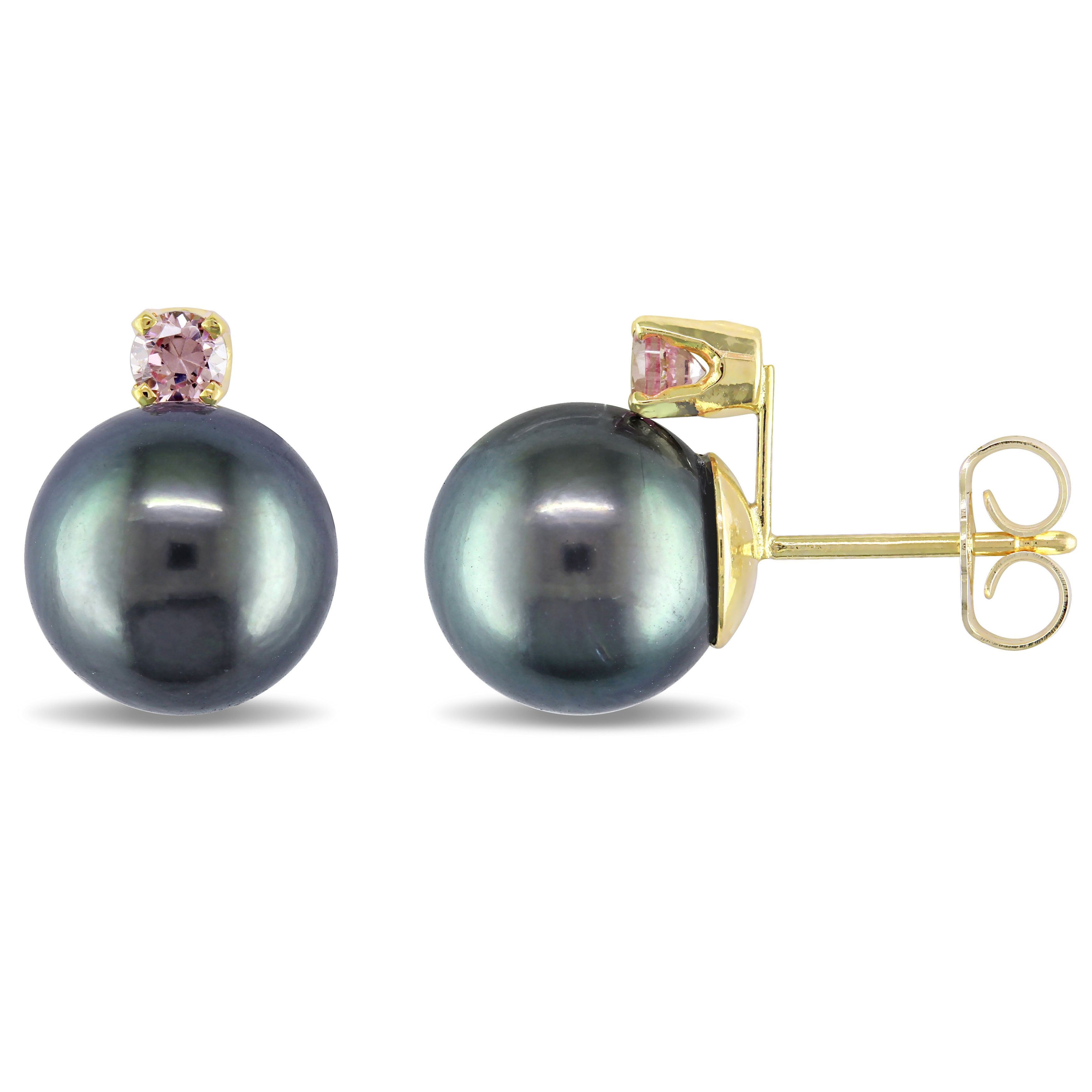 Miadora 14k Yellow Gold Tahitian Pearl And Rose Sapphire Stud Earrings  (910mm)