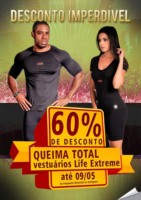 QUEIMÃO TOTAL de vestuário Life Extreme até o dia 09/05!  Não perca tempo! Acesse nosso site e desfrute dos melhores produtos para sua saúde e bem-estar: http://www.akmos.com.br/