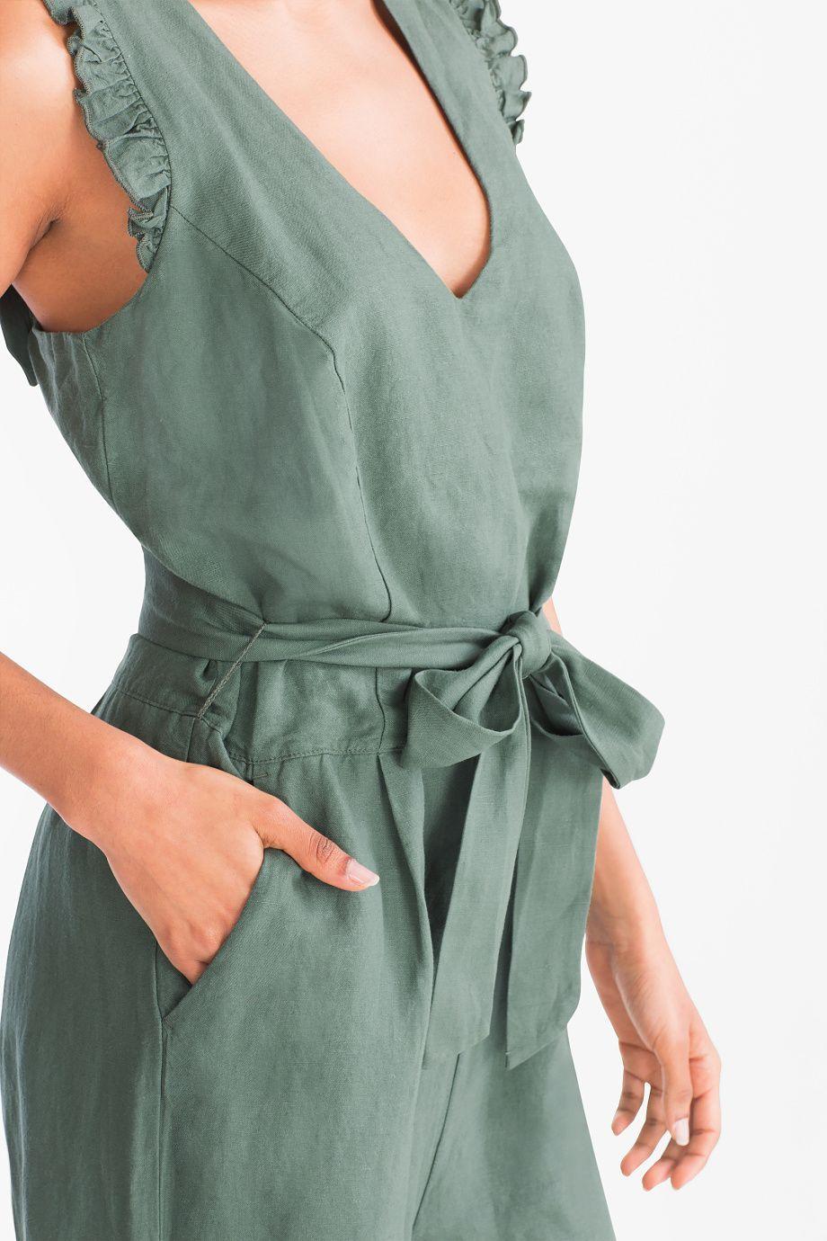 Black Friday Jumpsuit Linen Blend Dark Green Jumpsuitfashion Macacao Para Mulheres Listras Da Moda Roupas