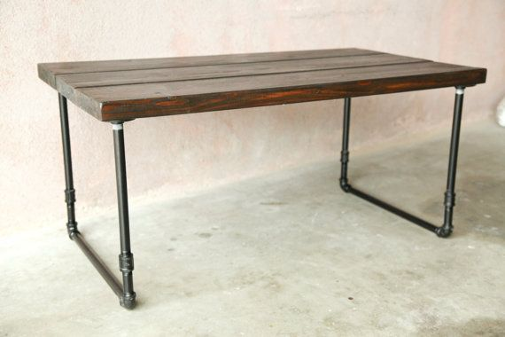 Handmade Wooden Coffee Table With U Shaped Galvanized Steel Pipe Legs