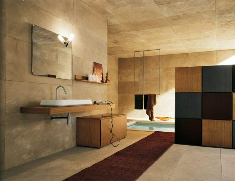 badezimmer fliesen stein braun modern eingelassene badewanne ...