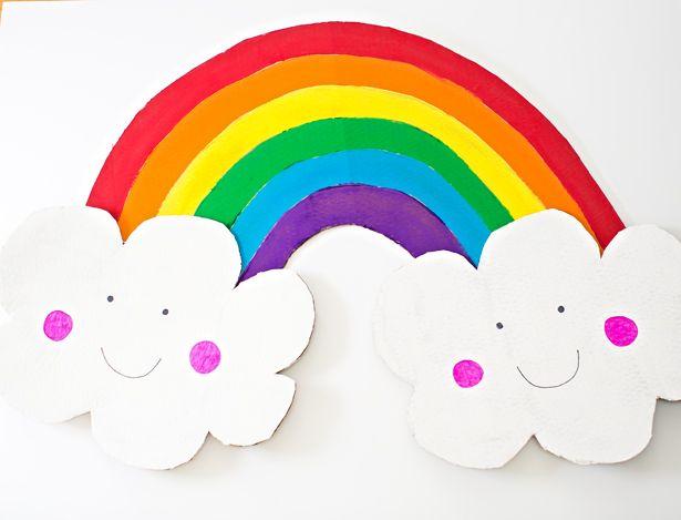 Diy Happy Cardboard Rainbow Costume For Kids Rainbow