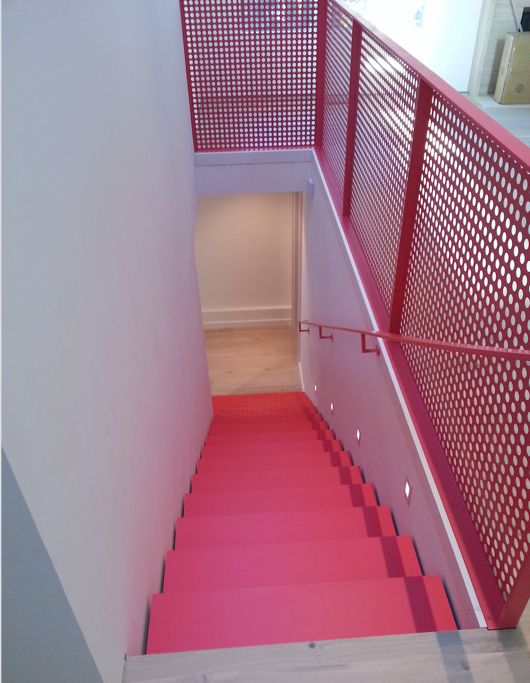 Best Shadow Line Along Stairs Perforated Steel Railing Powder Coated 400 x 300
