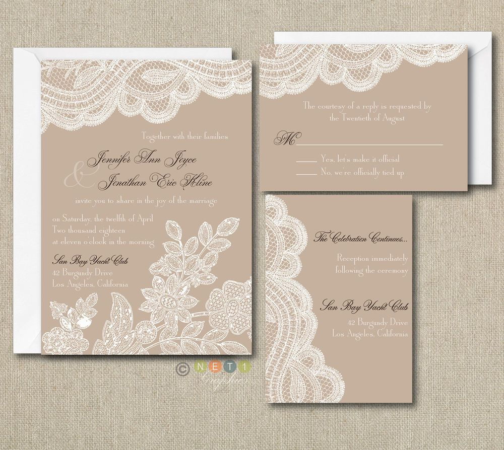 100 personalized custom rustic vintage lace wedding invitations set any color net1graphics - Rustic Vintage Wedding Invitations