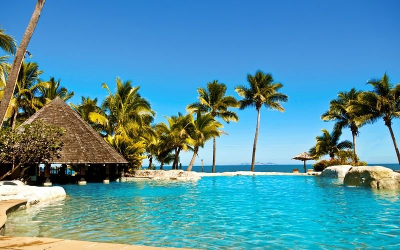 Waterocean Water Ocean Sun Beach Seas Summer Tropical Fiji Palm Trees Huts Swimming Pools Hotel Islands Re Wallpaper Desktop