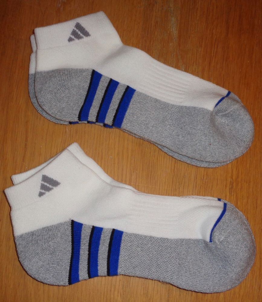 NEW MENS CUSHIONED GRAY & WHITE ANKLE SOCKS FROM ADIDAS