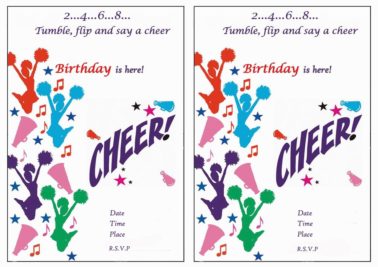 Cheerleading Free Printable Birthday Party Invitations Cheerleader