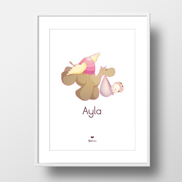 Yislamoo camel stork newborn baby girl personalized framed print