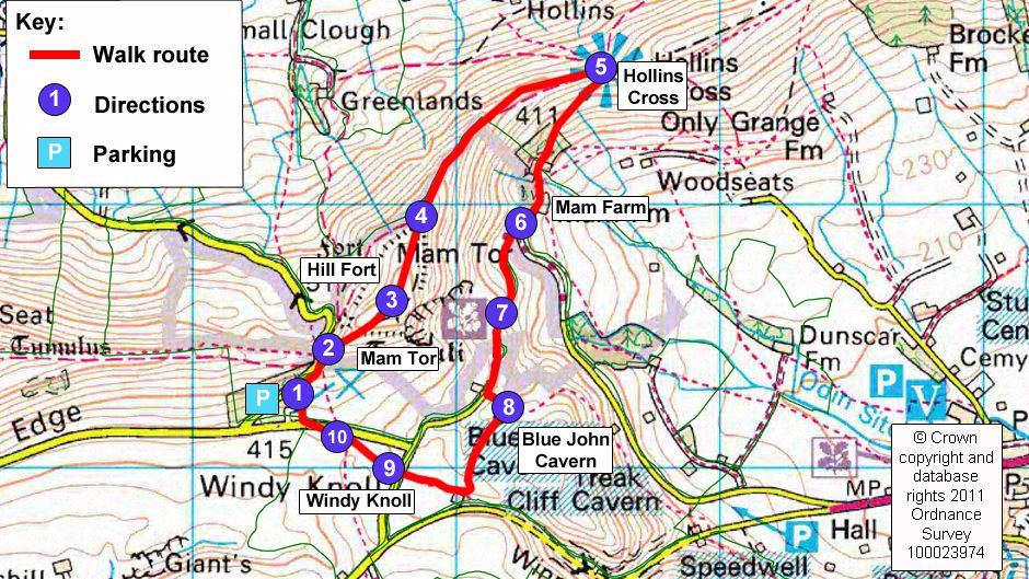 Map Of England Derbyshire.Map Route For Mam Tor Circular Walk Travel Tips Ideas Peak
