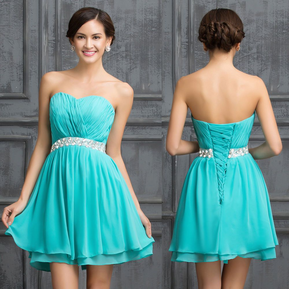 FREE SHIP Short Mini Prom Dresses Evening Party Bridesmaid Wedding ...