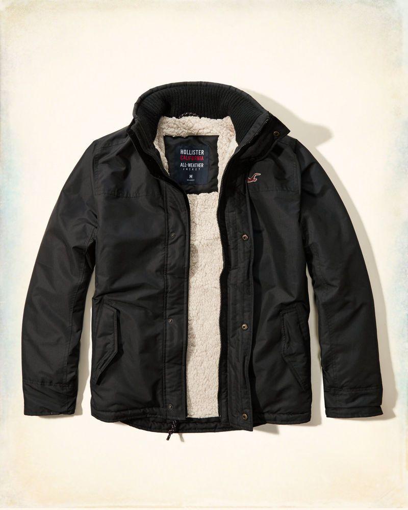 Hollister by Abercrombie All Weather Black SHERPA Coat Jacket Men's S