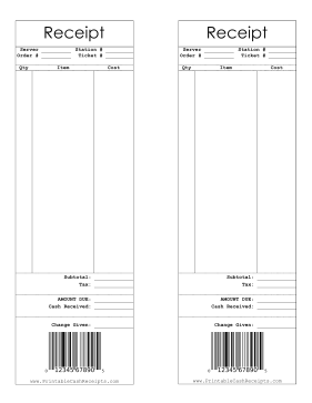 A Sample Barcode Decorates This Cashier Receipt With Room For The Server And Station Free To Download And Print Barcode Receipt Print