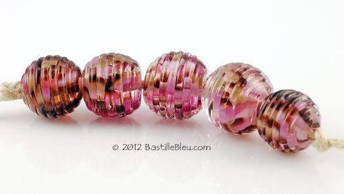 $28 Cherry Blossom Ribbed Rounds - Handmade lampwork art beads, jewelry & supplies by Bastille Bleu Lampwork