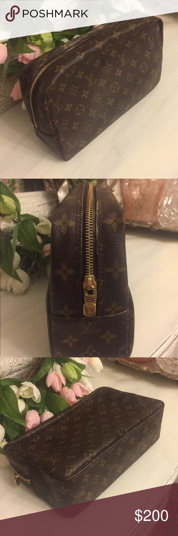 💯 authentic Louis Vuitton Trousse 28 cosmetic bag AS IS PLEASE READ: gorgeous bag, but interior at top of Pouch is sticky. It's the leather itself that has become sticky over time. This is common in many vintage LV bags and typically requires the lining be replaced. The stickiness has caused some spotting on top of bag. See photos. Last pic is to show size ONLY. Last pic is not the bag being sold. Louis Vuitton Bags Cosmetic Bags & Cases