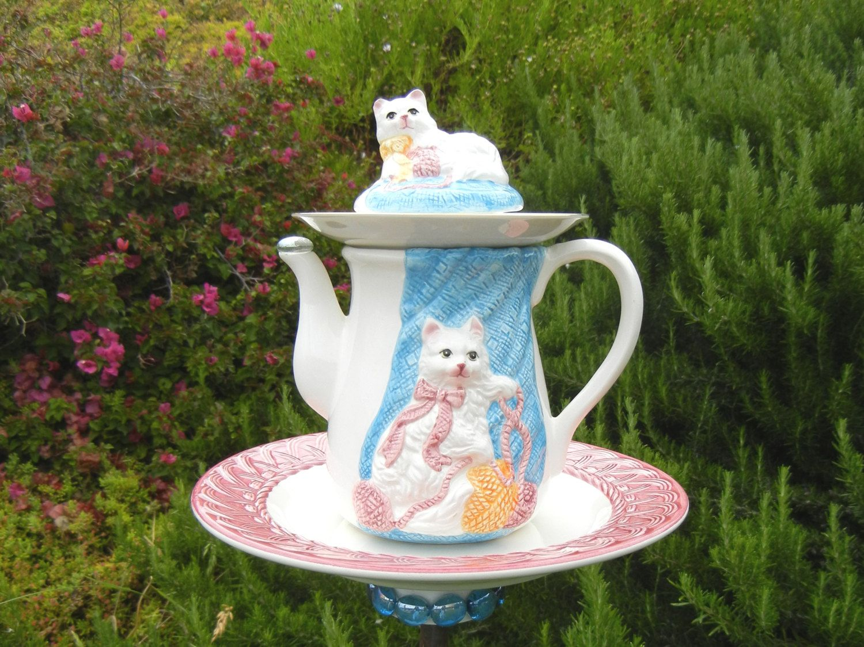 Cat Theme Teapot Bird Feeder, Repurposed Garden Art, Whimsical ...